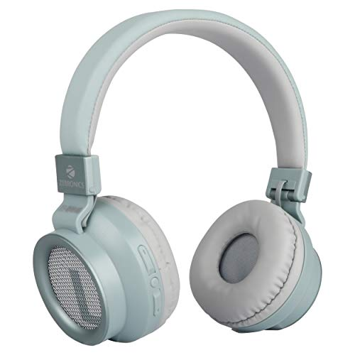 Zebronics Zeb-Bang Foldable Wireless BT Headphone Comes with 40mm Drivers, AUX Connectivity, Call Function, 16Hrs* Playback time & Supports Voice Assistant (Green)