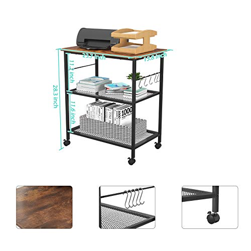 Topfurny Kitchen Microwave Cart, 3-Tier Baker's Shelf, Utility Cart, End/Side Office Shelf Vintage Rolling Cart with Wheels and 5 Hooks for Kitchen Living Room Bedroom Furniture