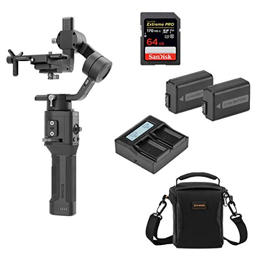 DJI Ronin-SC Handheld 3-Axis Gimbal Stabilizer for Sony Mirrorless Camera, Pro Battery Bundle with Camera Bag + 64GB SD Card + 2 Green Extreme NP-FW50 Battery + Dual Smart Charger