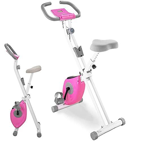 BAKAJI Bicicleta estática plegable para bicicleta de entrenamiento y cardio de piernas con asiento acolchado ajustable y pantalla LCD estructura de acero inoxidable, resistencia de 8 niveles