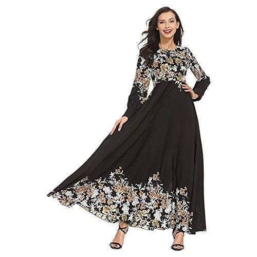 Haodasi Folk-Sitte mit Blumen Bedruckt Muslim Islamisch Maxi Sommerkleid Damen Roben Flowy PlisseeKleider Gebet Ramadan Arabisches Malaysia Mittlerer Osten Afghan Bekleidung Thobe