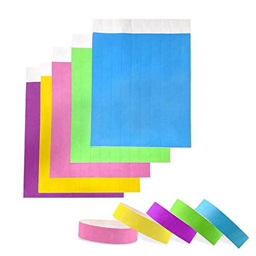100 pulseras de entrada impermeables e imprimibles para el control y la seguridad en eventos 19 x 255 mm (colores)