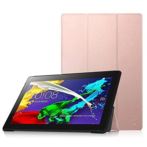 FINTIE SlimShell Funda para Lenovo Tab 2 A10/Tab 3 10 Plus - Súper Delgada y Ligera Carcasa con Función de Soporte para Lenovo Tab2 A10-70/30/Tab 3 10 Plus/Tab 10 TB-X103F de 10,1', Oro Rosa