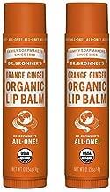 Dr. Bronners Organic Moisture Lip Balm & Magic Massage Balm (Orange Ginger Lip Balm, 2 Pack)