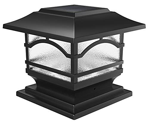 Davinci Lighting Premium Solar Outdoor Post Cap Lights - 4x4 5x5 6x6 - Bright LED Light for Fence Deck Garden or Patio Posts - Slate Black (1 Pack)