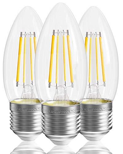 Bombilla de filamento LED E27, 2700 K, blanco cálido, no regulable [Clase energética A +], bombilla de filamento E27 4 W, paquete de 3 bombillas de vela E27, 400 lm, bombillas de tornillo E27 transpa