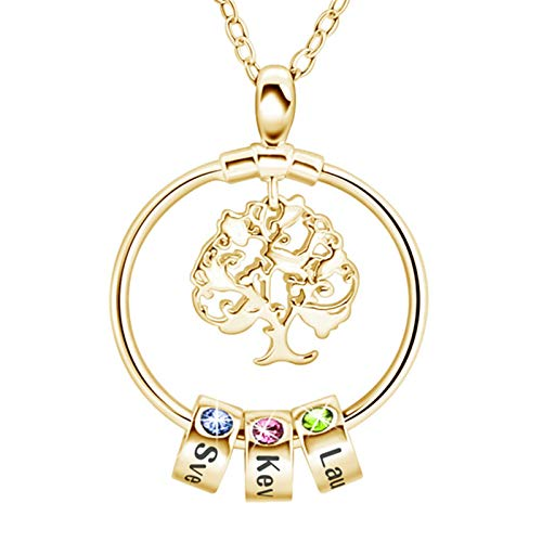Jenstiy Mum Necklace Tree of Life Necklace with Birthstone Personalized Name Engraved Bead Necklace for Women Girls (three beads, gold-tree)
