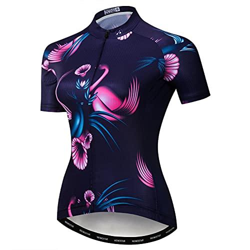 Weimostar MTB Trikot Radtrikot für Damen Mountainbike Jersey Shirts Kurzarm Rennrad Tops Pro Team RacingTops für Damen Famale Sommerbekleidung Atmungsaktiv und schnell trocknend Größe XL