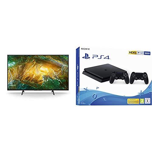 Sony KD-43XH8096 Bravia 108 cm (43 Zoll) Fernseher, Smart TV, Sprachfernbedienung, 2020 Modell + PS 4 - Konsole (500 GB, schwarz, Slim, F-Chassis) inkl. 2 DualShock 4 Controller