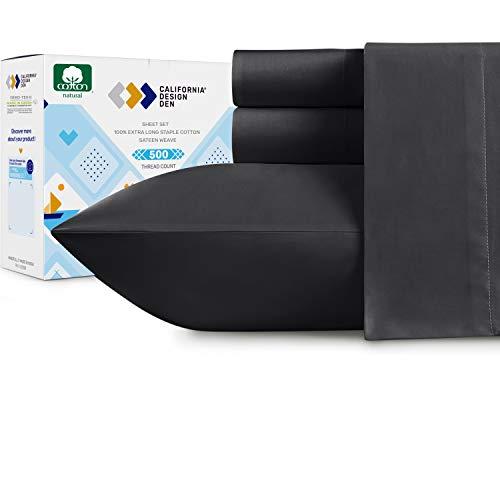 Queen Size Bed Sheets  500 Thread Count Extra Long Staple Cotton Dark Gray Sheet Set Fits Mattress 16#039#039 Deep Pocket Soft amp Sateen Weave 4 Piece Bedding Set