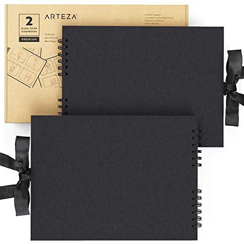 Arteza Blank Scrapbook Set, Black Cover, Spiral Bound, 8.5x11 inches, 2-Pack, 40 Black Pages, 250...