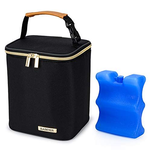 BABEYER Breast Milk Cooler Bag with Ice Pack Fits 4 Baby Bottles Up to 9 Ounce, Baby Bottle Cooler Bag Suitable for Nursing Mom Daycare, Black