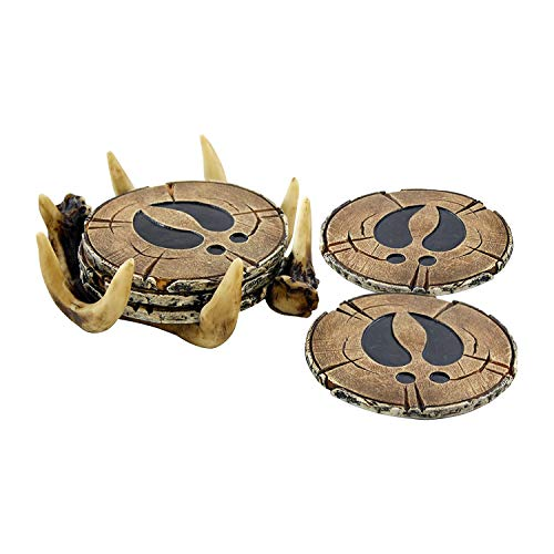Pine Ridge Deer Antler Drink Coaster Set of 4 Old West Decor - Home Table Beverage Coaster with Holder - Drink Glass Holder with Outdoors Rustic Cabin Theme