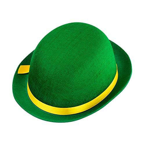 Widmann 32634 - Clown-Hut, für Kinder, grün-gelb, Melone aus Filz, Hut, Mütze, Kostüm, Karneval, Mottoparty