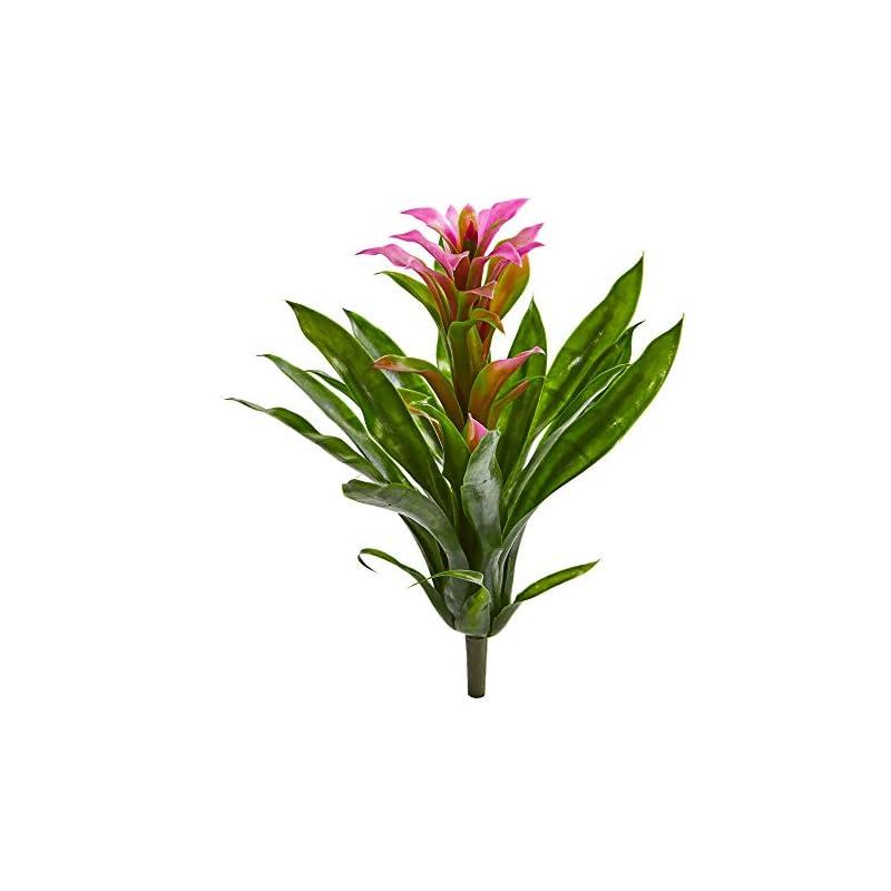 silk flower arrangements nearly natural 15-in. bromeliad artificial (set of 4) silk flowers, purple