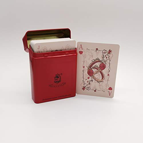 ACELION wasserdichte Spielkarten, Plastik Pokerkarten, Poker Karten Set, Playing Cards (Pink Liebesgeschichte Spielkarten in Blechdose)