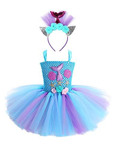 TiaoBug Mädchen Meerjungfrau Kostüm Kinder Prinzessin Kleid Tutu Märchen Motto Party Kleid mit Seestern Schwanz Deko Haarreifen Fasching Karneval Verkleidung Hellblau 128-134/8-9 Jahre