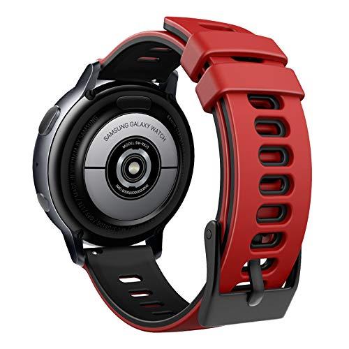 MoKo Correa Compatible con Garmin Forerunner 245/Galaxy Watch 3 41mm/Galaxy Watch 42mm/Active/Active 2, Banda Deportiva de Repuesto Silicona Suave de Dos Colores, Rojo