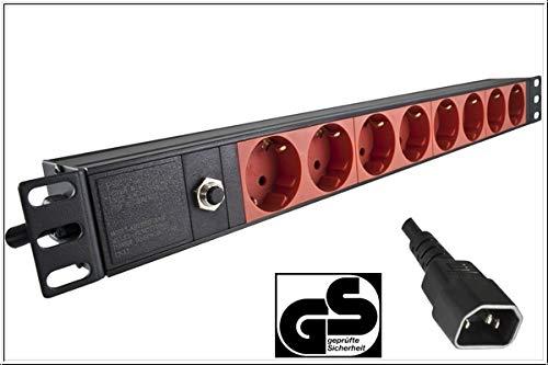 DINIC 19 Zoll Steckdosenleiste aus Aluminium, GS (8-Fach für USV-Anlagen)