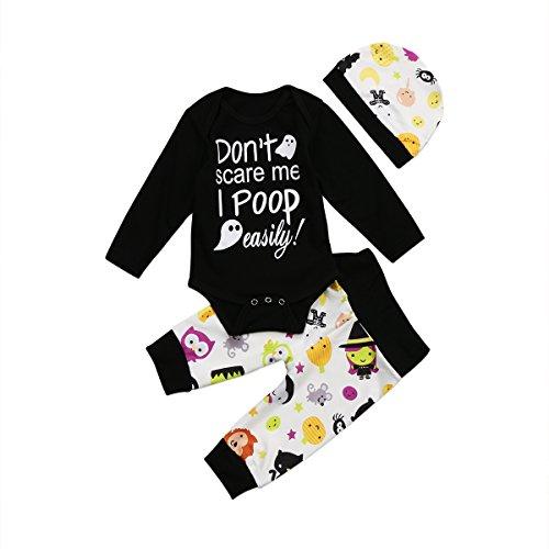 Traje de Ropa Halloween para Niños Niñas Unisex Conjunto de Bebé Top Mameluco de Manga Larga + Pantalones Largos con Estampado de Patrones Calabaza Fiesta