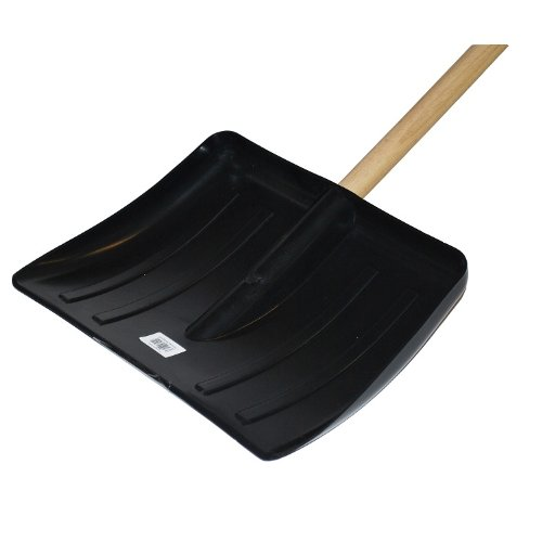 NEW SNOW SHOVEL SCOOP PUSHER WOODEN HANDLE STRONG THICK BLACK PLASTIC