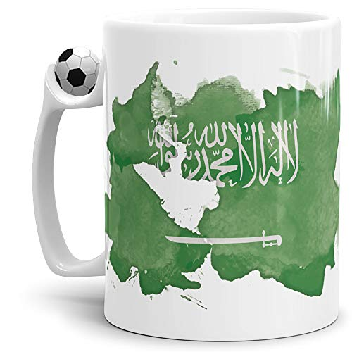 Tassendruck Flaggen-Tasse Saudi-Arabien Arabien Fussball-Tasse - Fahne/Länderfarbe/Wasserfarbe/Aquarell/Cup/Tor/Qualität Made in Germany