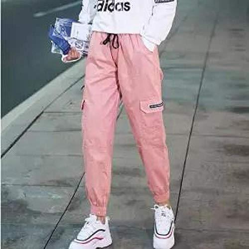 Dongwall Freizeithosen Mode FrüHling Frauen Kleidung Straight Overalls LäSsige Haremshose Koreanische Elastische Taille Dreieck Schnalle Cargo Hose Girls-M