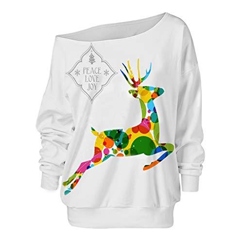 Xmiral Bluse Damen Elk Drucken Lange Ärmel Rundhals T-Shirt Schulterfrei Tops Mode Weihnachten U-Boot-Ausschnitt Pullover Sweatshirts(Grün,M)