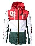 URBANCREWS Mens Hipster Tri-Color Block Full Zip-Up Light Weight Windbreaker Jacket- Green - S