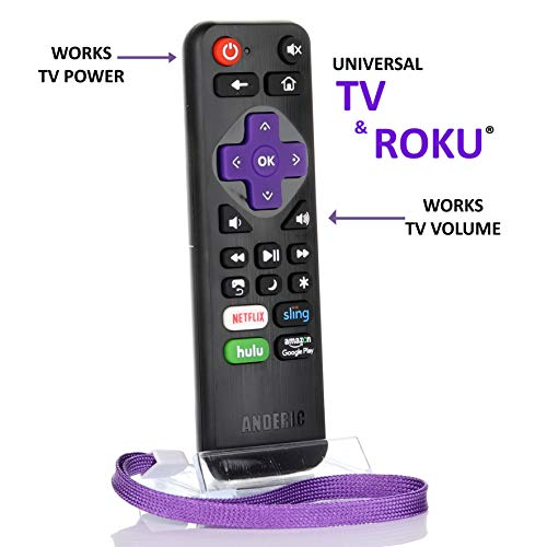 Universal IR Roku Express Remote with Volume Roku/TV Streaming 2-in-1 Remote Control with Learning - Works for Roku + TV with Volume/Power Keys for TVs & Roku TVs [NOT for ROKU Sticks] (Philips Universal Remote Codes For Element Tv)
