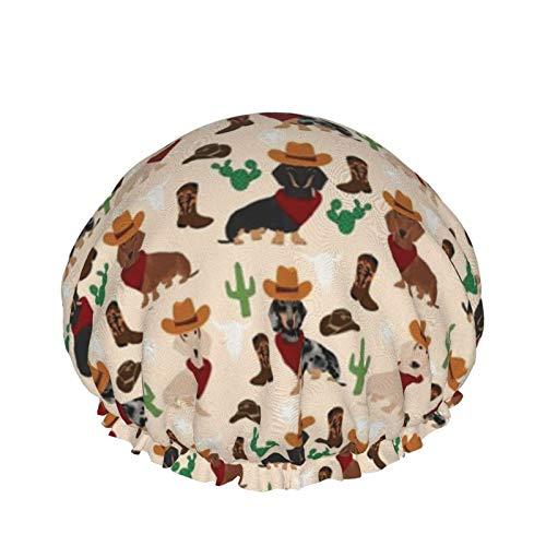 Dachshund, sombrero de vaquero occidental, botas, gorro de ducha de crema, gorro de ducha para el cabello,...