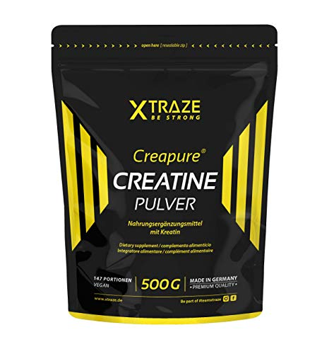 Creatin Monohydrat (Creapure®) Pulver 500 g, Kreatin-Pulver vegan geschmacksneutral, 100% rein, Natürliches Supplement ohne Zusätze - für Kraftsport, Bodybuilding, Fitness