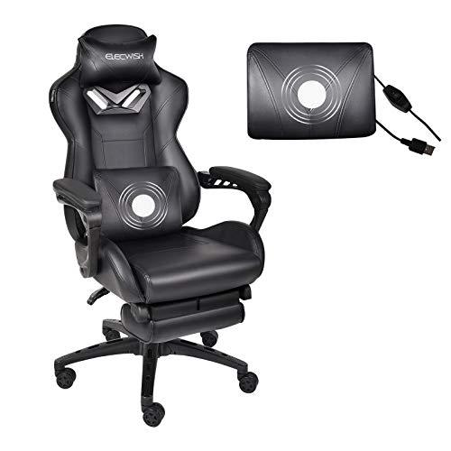 ARTETHYS Gaming Stuhl Massagefunktion Bütostuhl mit Verstellbarer Kopfstützte, Fußstütze, Armlehne 360 °Drehbar Ergonomischer PC Stuhl Höhenverstellbares Chefsessel (Schwarz)