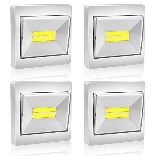 BeiLan 4x LED Strahler mit Schalter, Leuchte mit Batterie zur Montage mit Magnet und Klettband 200LM (Weiss)