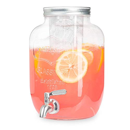 Dispensador de bebidas de vidrio exterior con espita de acero inoxidable Cilindro de hielo Dispensador de bebidas para la limonada de té agua fría refrigerador fiestas Fiestas de refrigerador Leche