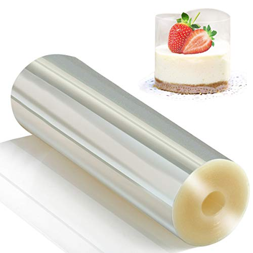 Cake Collars 6.3 x 394inch - Picowe Clear Acetate Strips, Transparent Acetate Roll, Mousse Cake Collar for Chocolate Mousse Baking, Cake Decorating