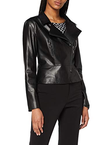 comma Damen 85.899.56.1080 Kunstlederjacke, 9999 Black, 36
