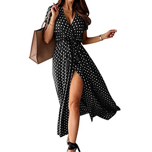riou Damen Blumen Sommerkleid Knopf Kurzarm V-Ausschnitt Lose Knielang Kleid High Waist Midi-Hemdkleid Strandkleider Polka Dots Knopfkleid