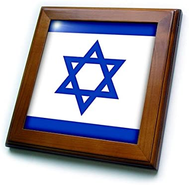 3dRose ft_108354_1 Flag of Israel Framed Tile, 8 by 8-Inch
