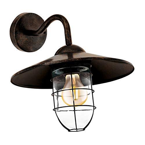 EGLO Außen-Wandlampe Melgoa, 1 flammige Außenleuchte, Wandleuchte aus verzinktem Stahl und Glas, Farbe: Kupferfarben-antik, Fassung: E27, IP44