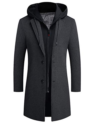 zeetoo Men's Wool Trench Coat Winter Slim Fit Wool Jacket Long Peacoat Hooded Overcoat Plus Cotton X-Large