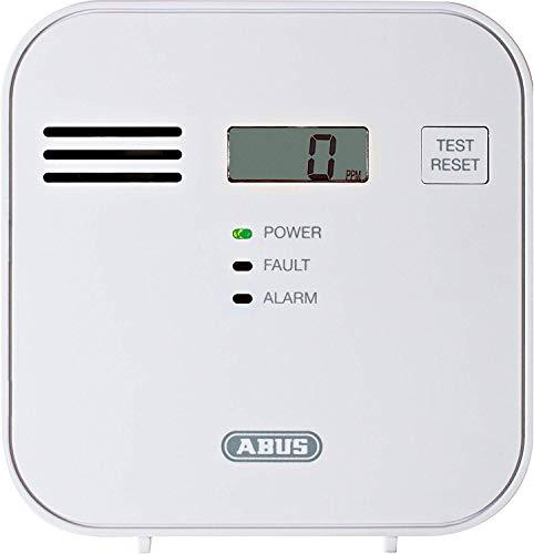 ABUS Kohlenmonoxid-Warnmelder COWM300 CO-Melder | LCD-Display inkl. CO-Konzentration | 7 Jahre Sensor | Prüftaste | bis 60 m² | weiß | 37241