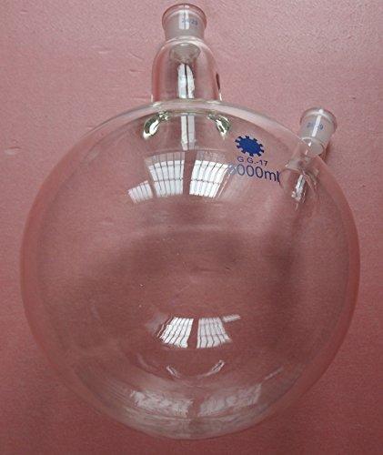 5000ml,24/29,2-hals, ronde bodem glazen fles, 5L, dubbele halzen, lab reactie fles