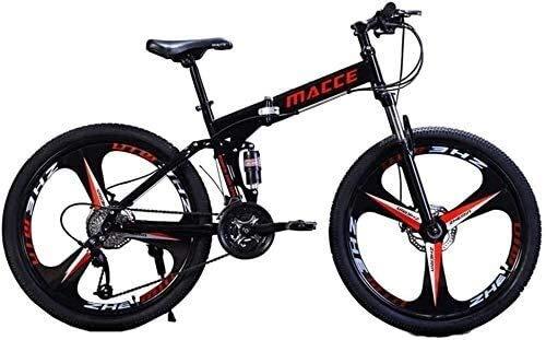 Suge Plegable Bicicleta de montaña Deporte, Bicicletas 26 Pulgadas Plegables Bicicletas de Carreras Adultos Variable la Velocidad Doble Freno de Disco 21 Bicicletas de Velocidad (Color : Black)