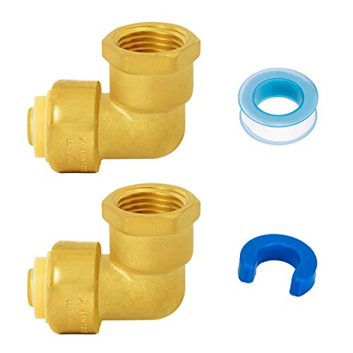 SUNGATOR Female Elbow, Pushfit Plumbing Fittings 1/2 Inch, Push-to-Connect, 90 Degree Elbow Female Adapter with Disconnect Clip & Tape, Lead Free Brass PEX Fittings for Copper, PE-RT, CPVC (2-Pack)