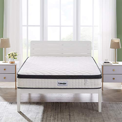 Tribesigns Double Mattress 4FT6, 10.3inch Deep 8-zone Spring Mattress with Natural Breathable Knitting Fabric, Sprung Mattress Medium Firm Feel, Black Stripe(190 * 135 * 26cm)