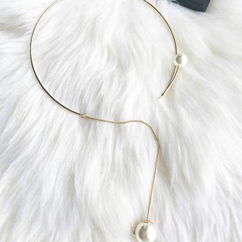 ZHOUBINBIN Nueva Mujer Gargantillas Collares Collar Sencillo Coreano Clásico Pearl Flecos Collar Cadena Clavícula Hembra Joyas para Fiesta De Aniversario De Bodas Regalos De Cumpleaños