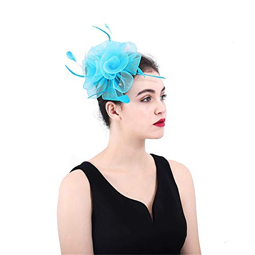 Ouuager-Home Fascinator hoofdband haarspelden vrouwen fascinator hoed veer mesh net hoed bloem hoed bloem jas en haarband Derby hoed