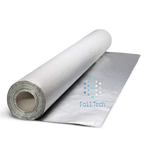 Barrera de vapor y membrana impermeable SFTV1L (1,2 m x 20 m) – 24 m² de cobertura | Aislamiento térmico de lámina para paredes, techos, suelos, lofts