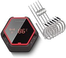 Inkbird IBT-6XS Draadloze Bluetooth BBQ Thermometer, Digitale Vleesthermometer voor Smokers met 6 Probes,USB Oplaadbare...